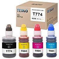 TEINO 兼容墨盒替换件适用于 Epson 爱普生 664 T664 T774 适用于 Epson Expression L120 L200 L210 L355 L555 ET-2650 ET-2550 ET-4550 ET-16500 ET-4500 (黑色,青色,洋红色,黄色,4 件装)