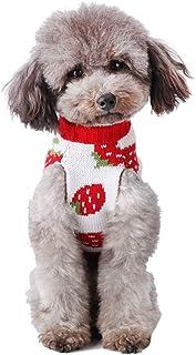 Cuteboom 狗毛衣草莓服装宠物温暖毛衣猫万圣节和圣诞服装适合中小型犬 L