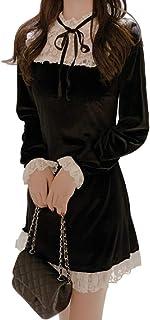 GK-O 女式蕾丝天鹅绒连衣裙褶皱褶边哥特式女士迷你复古洛丽塔派对连衣裙