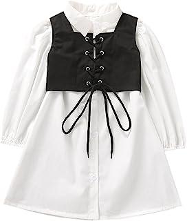 TINXIEA 幼童女婴长袖系扣束腰连衣裙衬衫带蕾丝背心上衣 2 件婴儿服装服装
