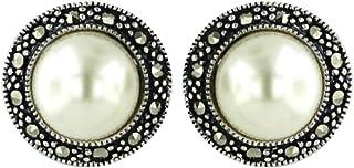 Tisoro 标准纯银 Marcasite 淡水珍珠耳环 - 低*性圆形珍珠耳钉 8 毫米 - 花式