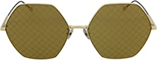 Bottega Veneta 六角形 BV 0201S 004 金色金属时尚太阳镜金色金属印花镜片