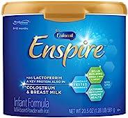 meadjohnson 美赞臣 enfamil 铂睿 Enspire 婴儿奶粉,含乳铁蛋白,20.5盎司,581克,可重复使用的包装罐,双重益生元,大脑建设和机体支持,DHA,铁,Non-GMO, MFGM