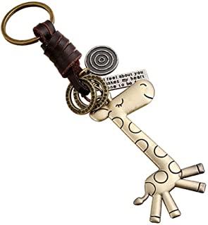 钥匙链环 长颈鹿吊坠 女士 男士 生日 友谊礼物 钥匙链 送给女孩朋友 儿子女儿