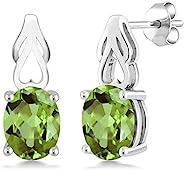 纯银绿色橄榄石宝石诞生石女式耳环(2.70 克拉总重,9X7 毫米椭圆形)