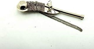 独特的航海实心黄铜/银色船形(波森)哨子,5 英寸(约 12.7 厘米),黄铜