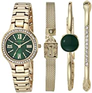 Anne Klein 安妮克莱恩 女士施华洛世奇水晶点缀手表和手链套装 AK/3582