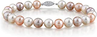 THE PEARL SOURCE 纯银 7-8mm AAA 质量圆形多色淡水养殖珍珠女士手链