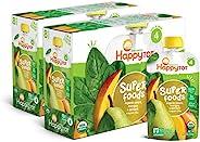 Happy Tot Organic 禧贝四段超级食品梨芒果和菠菜+超级奇亚籽,4.22盎司(约 119.6 克)挤挤装(16包)(包装可能会有所不同)