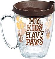 Tervis 1258373 My Kids Have Paws 隔熱玻璃杯 帶包裝和棕色蓋子,473.24g 馬克杯,透明