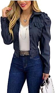 Fashion Store 女式仿皮翻领夹克,PU 皮摩托车短款开襟朋克摇滚夹克