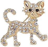 HSQYJ 镀金猫胸针水晶水钻动物翻领别针时尚珠宝套装胸针配饰女式男士连衣裙