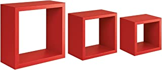 Homemania HOMSAN_089 架子,仿古,墙壁装饰,卧室,办公室中*纤维板,红色,35 x 35 x 15.5/25 x 25 x 15.5/20 x 20 x 15.5厘米