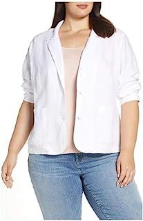 Eileen Fisher 女式加大型亚麻双扣西装外套白色 1X