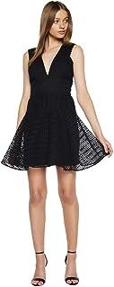 Bardot 女式修身喇叭 V 领蕾丝连衣裙,尺码 8,黑色