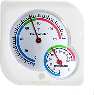 SunGrow 湿度和温度计,3 英寸(约 7.6 厘米),准确读数的模拟计,华氏度和百分比测量,玻璃箱、爬行动物和寄生箱的双温度计和湿度计