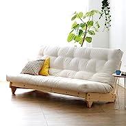JONAANDA 日式简约实木布艺沙发 小户型沙发现代时尚双人三人布艺沙发椅多功能折叠沙发床G3 (米色布)