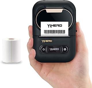 YiHERO 便携式标签机 手持蓝牙热贴纸标签打印机 无线条形码打印机 适用于标签归档 邮寄电缆 兼容 Android 和 iOS 系统 黑色