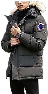 男式冬季外套防水防风毛皮连帽加厚长款派克羽绒夹克