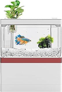 AMOSIJOY DC 5V USB 小型水族箱贝塔鱼缸,水族箱入门套件,带 LED 灯和过滤系统,适用于办公室家庭办公桌装饰(红色)