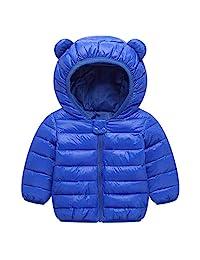 男宝宝女孩冬季外套保暖柔软羽绒夹克棉质填充连帽外套适合新生儿幼儿儿童外套
