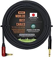 18 英尺 - 吉他低音乐器电缆由 WORLDS *好的电缆定制 - 使用 Mogami 2524 线和Neutrik NP2RX-AU-SILENT & Neutrik NP2X-B 1⁄4 英寸 (6.35m