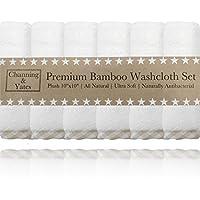 高级竹纤维婴儿毛巾(6只装) | 有机竹纤维婴儿毛巾2X AS 加厚 & 软 | 25.4x 25.4cm 可重复使用湿巾 | 适合***