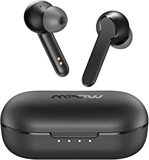 无线耳塞,Mpow MBits S True 蓝牙耳机入耳式带麦克风 CVC8.0 降噪耳机,蓝牙 5.0 耳机运动,深低音/IPX8 防水/35H 播放时间/触摸控制/3 模式,黑色