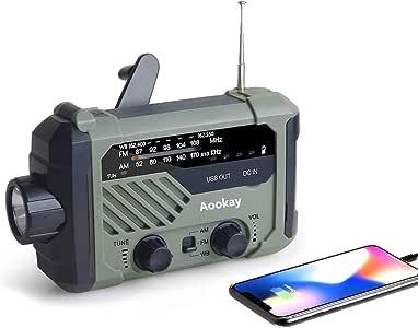 应急收音机,Aookay 2000mAh 手动曲柄太阳能天气收音机,便携式 AM / FM / NOAA 天气收音机,带 LED 手电筒,阅读灯,SOS 警报和 USB 手机充电器,适用于家庭户外和应急