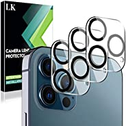 LK 3 件装相机镜头屏幕保护膜兼容 iPhone 12 Pro Max 6.7 英寸钢化玻璃,超薄高清,手机壳友好