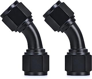 PTNHZ 2 件 10AN 母头到 10AN 母头 45 度旋转耦合器接头接头接头接头软管端部阳极氧化铝黑色