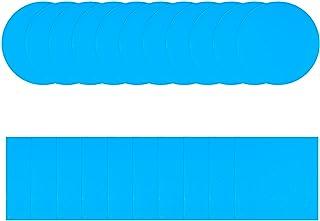 Shitailu 30 片自粘 PVC 修补贴片乙烯基泳池贴片修理工具,塑料修补贴片,强力粘在游泳池、充气船、气垫床表面,蓝色