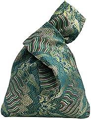 華 BARbee 華 女式日本棉图案腕袋袖结袋便携钱包帆布手提包