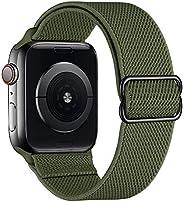 SIRUIBO 运动环带 兼容 Apple Watch 42 毫米 44 毫米,轻质弹力透气尼龙弹性魔术贴女士男士表带兼容 iWatch 系列 6/5/4/3/2/1 SE,军*