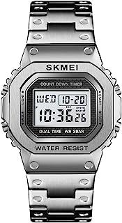 计时码表倒计时数字手表男式不锈钢户外运动手表男士手表闹钟50 米防水