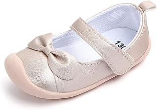 Azalquat 女婴 Mary Jane 平底鞋,蝴蝶结橡胶鞋底,防滑学步公主鞋
