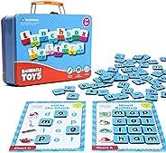 Barnacle Toys 午餐盒字母磁性字母套装,含 80 个磁性字母,适合儿童,20 个拼音游戏和磁性字母板 | 幼儿字母磁贴 | 幼儿园语音