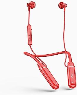 无线颈带耳机蓝牙耳机 100 小时播放时间 360 天待机颈挂耳塞内置麦克风运动耳机防水降噪适用于音频书籍/视频会议 - 红色