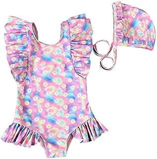 女婴泳装幼儿连体泳衣沙滩比基尼扎染荷叶边无袖泳衣套装 粉色