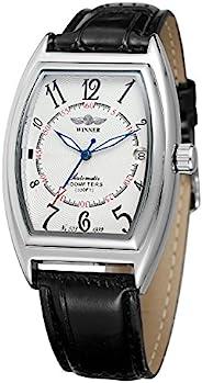FORSINING 男式自动手表*奢华品牌 Relojes 日期功能 Tonneau 形状时尚皮革手表