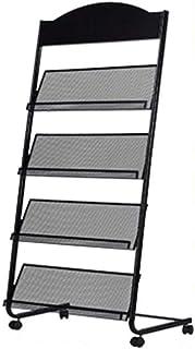 落地式杂志架信息架存储架报纸架展示架手册书架单页简单铁(黑色)