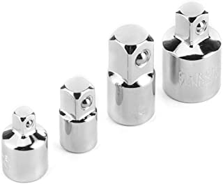 Qiilu 套筒适配器和减速器套装 4 件 1/4 英寸(约 0.6 厘米)3/8 英寸(约 1.3 厘米)电动扳手套适配器转换器延长转换套件(Chorme)