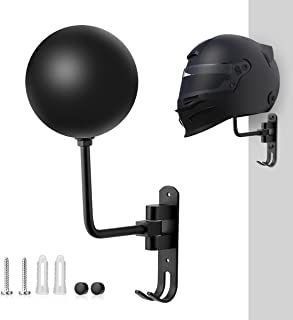 Magicfour 头盔支架,自行车头盔支架,180度旋转头盔架摩托车,带 2 个挂钩头盔挂钩,适用于外套、帽子、棒球和橄榄球头盔