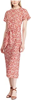 Lauren Ralph Lauren 娇小花卉印花锁孔绉纱连衣裙 - Canyon 红色/睫毛膏 - 10P