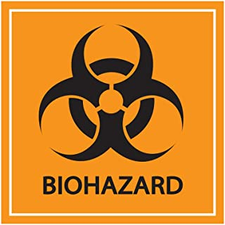 Biohazard 贴纸标志 5 英寸(约 12.7 厘米)防水警告标签自粘层压乙烯基贴花,适用于实验室、*和工业用途(方橙色,10 件装)