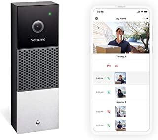 Netatmo 智能视频门铃,双向音频,人为检测,无需订阅费用,HD 1080p 夜视,有线,安装简单 NDB-UK