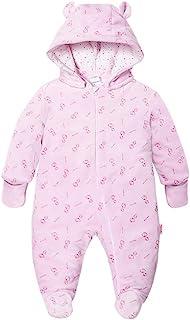VNFOX 新生儿男孩女孩卡通熊雪地服,冬季温暖,棉质婴儿连体衣连帽连身衣连袜睡衣(0-18M)