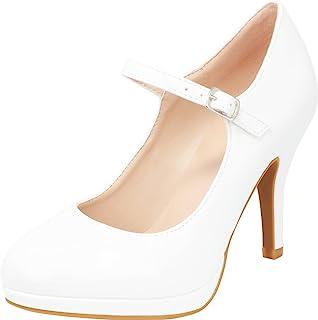 Cambridge Select 女士 Mary Jane 封闭圆头搭扣带防水台高跟鞋