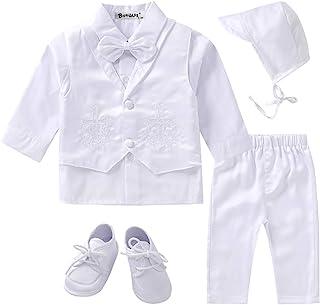 男婴 5 件套白色洗礼洗礼套装 十字绣花马甲长袖套装