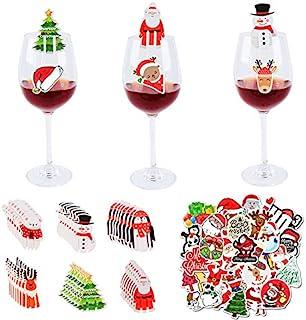 48 件圣诞玻璃饮料马克笔装饰杯卡圣诞高脚杯马克笔带粘贴可重复使用贴纸桌面装饰圣诞派对用品